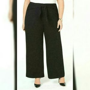 Alfani Black Solid Wide Leg Pants Tie Front Plus